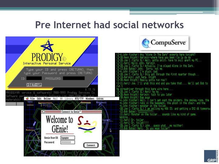 Pre Internet had social networks