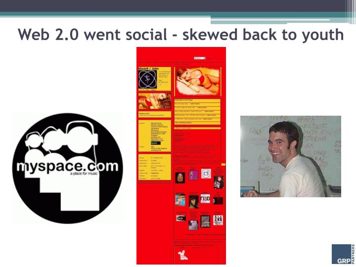 Web 2.0 went social - skewed back to youth