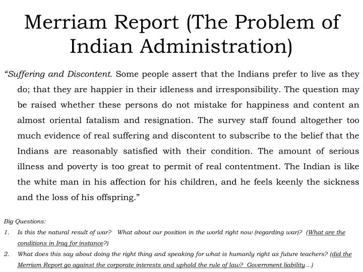 Merriam Report (The Problem of Indian Administration)