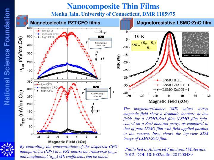 Nanocomposite thin films menka jain university of connecticut dmr 11059751