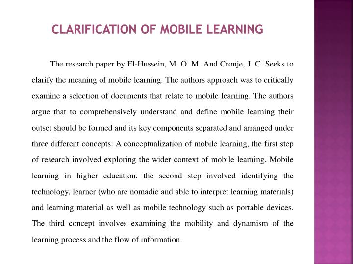 Clarification of mobile learning