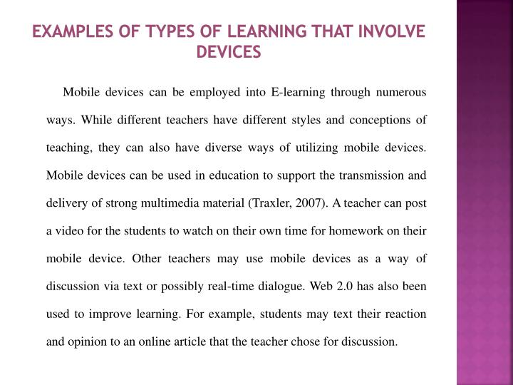 Examples of Types of Learning that Involve Devices