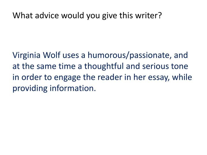 What advice would you give this writer?