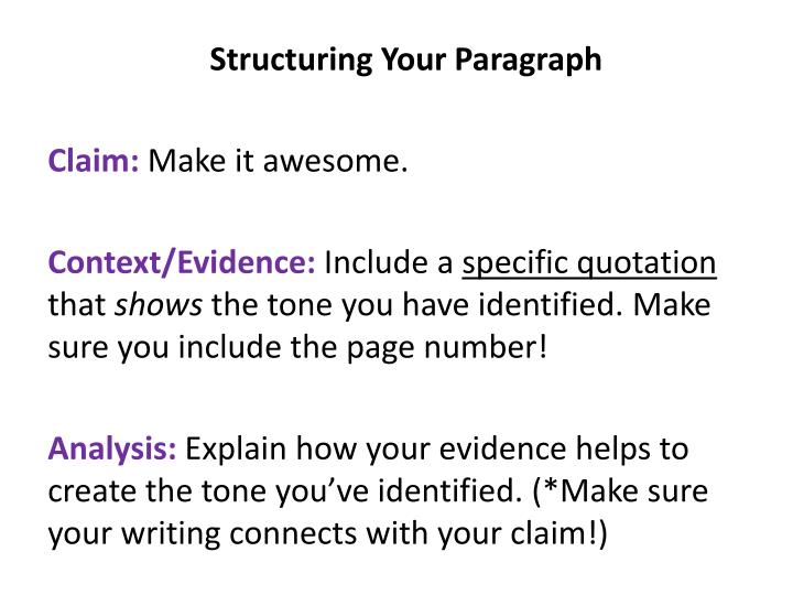 Structuring Your Paragraph