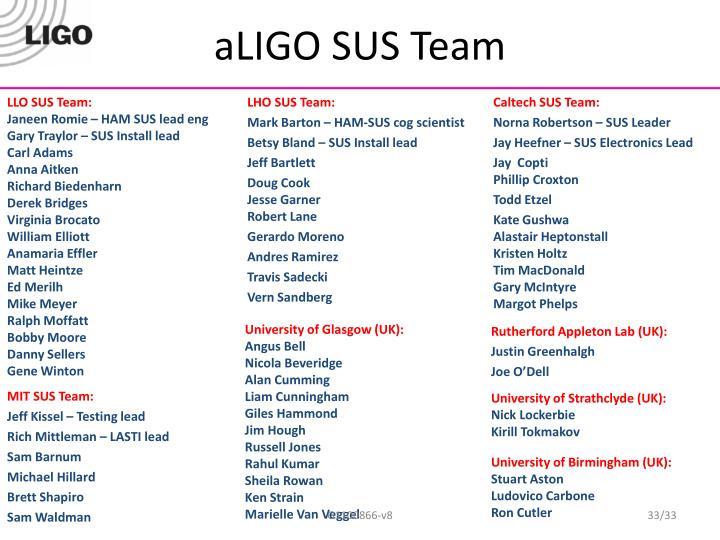 aLIGO SUS Team