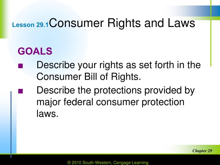 Lesson 29 1 consumer rights and laws