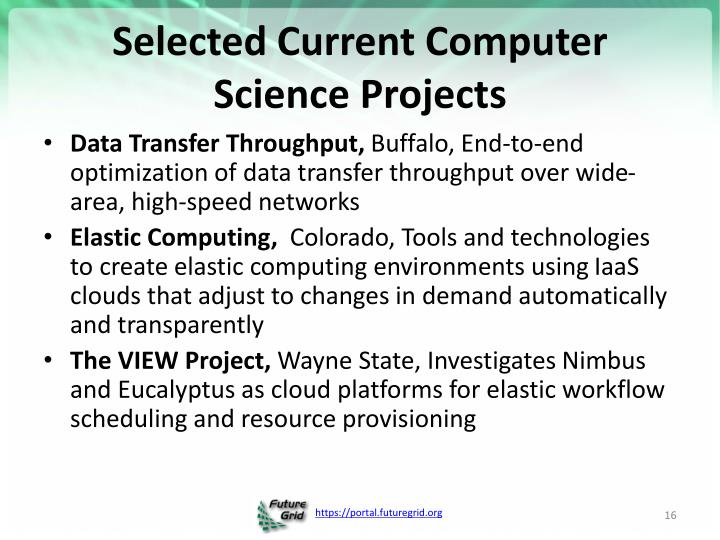 Selected Current Computer Science Projects