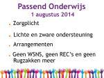 passend onderwijs 1 augustus 2014