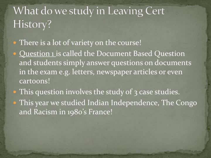 What do we study in Leaving Cert History?