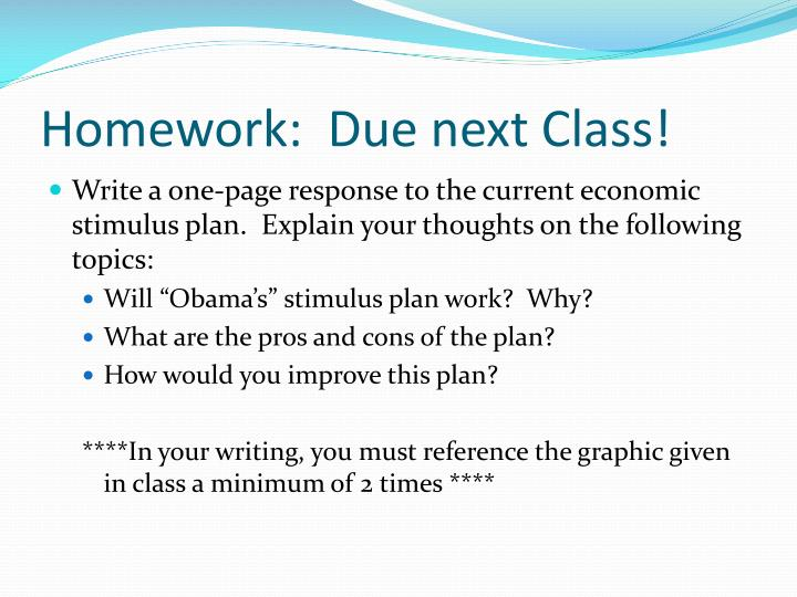 Homework:  Due next Class!