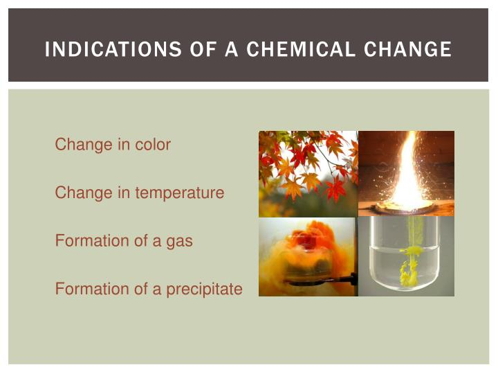 INDICATIONS OF A CHEMICAL CHANGE