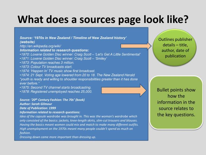 What does a sources page look like?