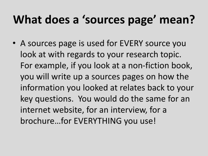 What does a 'sources page' mean?