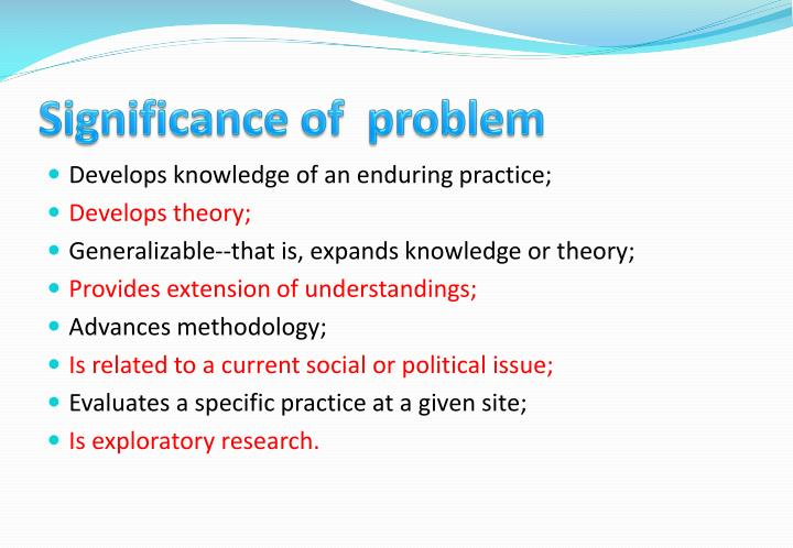 Significance of  problem