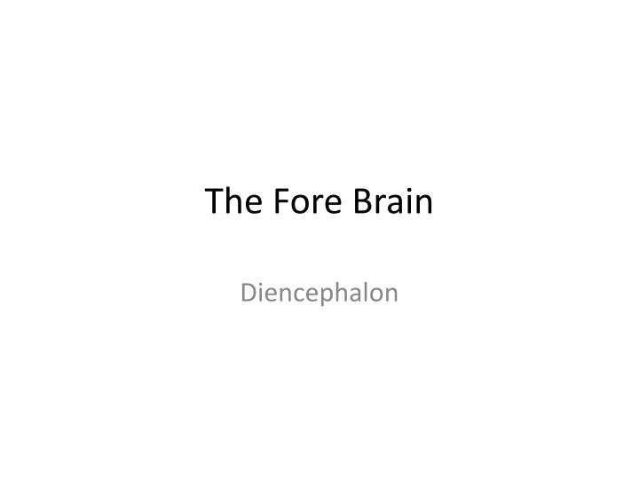 The fore brain