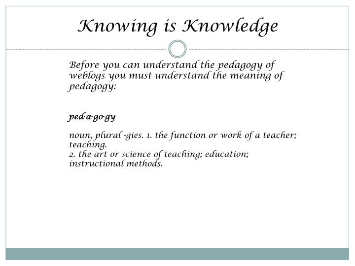 Knowing is Knowledge