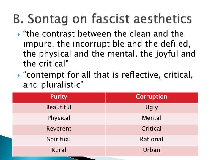 B. Sontag on fascist aesthetics