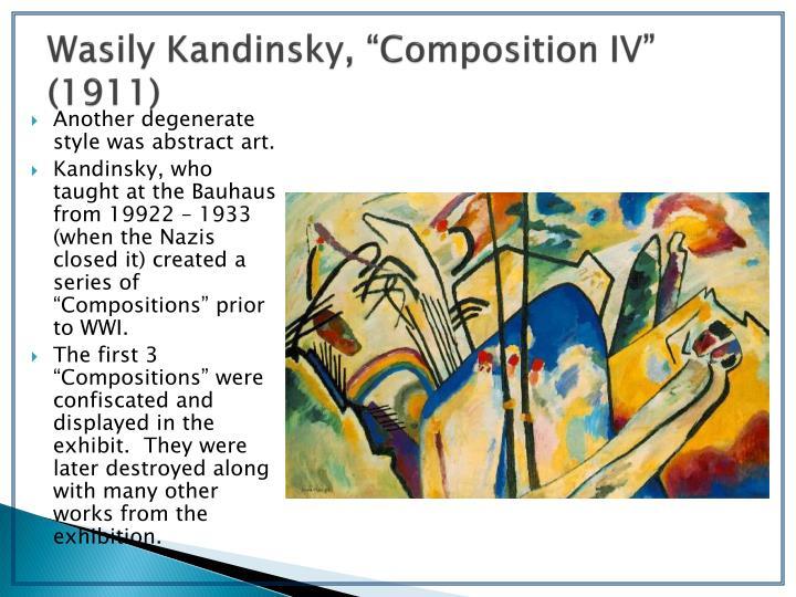 "Wasily Kandinsky, ""Composition IV"" (1911)"