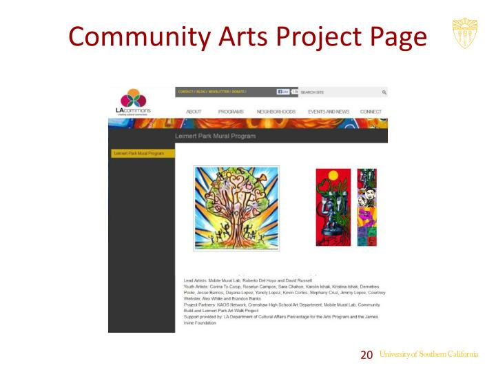 Community Arts Project Page
