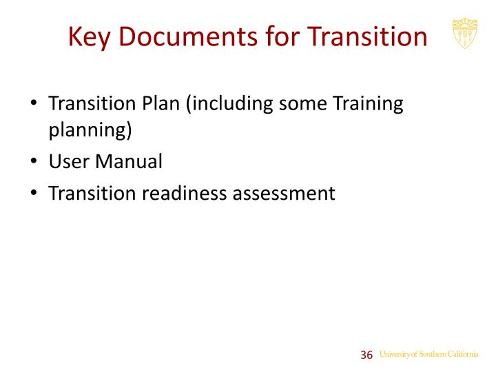 Transition Plan (including some Training planning)