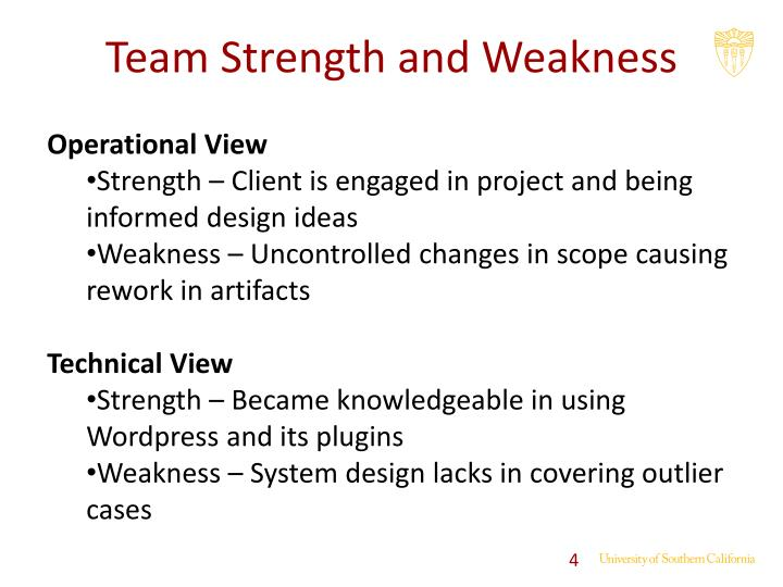 Team Strength and Weakness