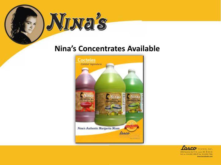 Nina's Concentrates Available