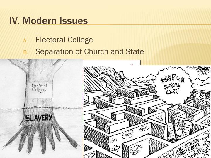 IV. Modern Issues