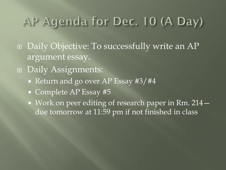 AP Agenda for Dec. 10 (A Day)