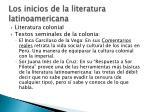 los inicios de la literatura latinoamericana1
