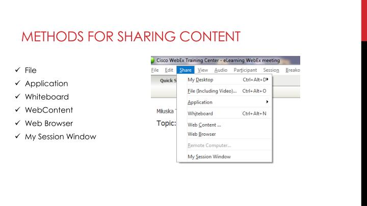 Methods for sharing content