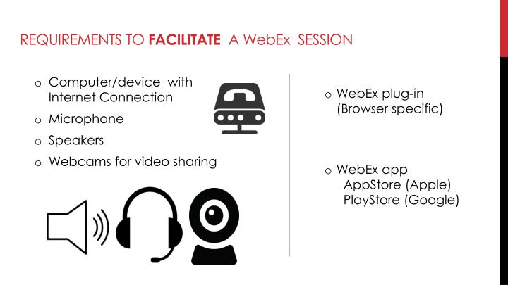 Requirements to facilitate a webex session
