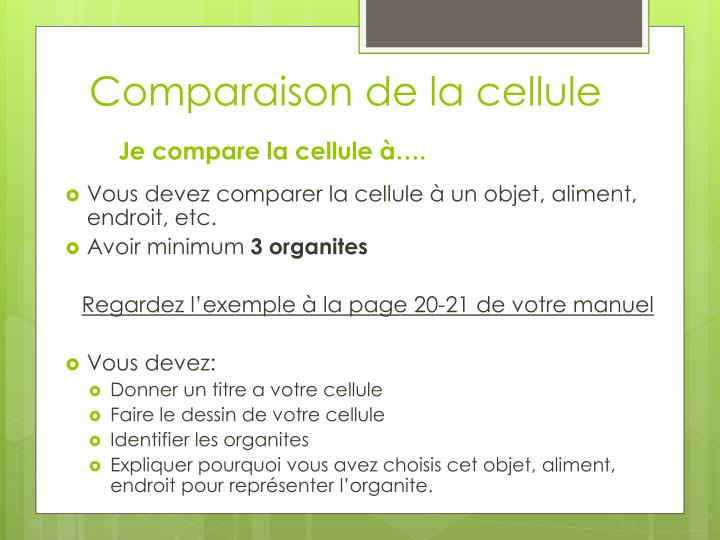 Comparaison de la cellule