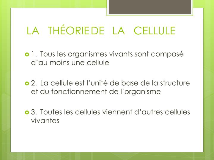 La th orie de la cellule