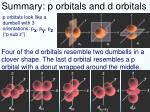 summary p orbitals and d orbitals