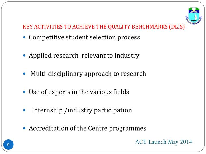 KEY ACTIVITIES TO ACHIEVE THE QUALITY BENCHMARKS (DLIS)