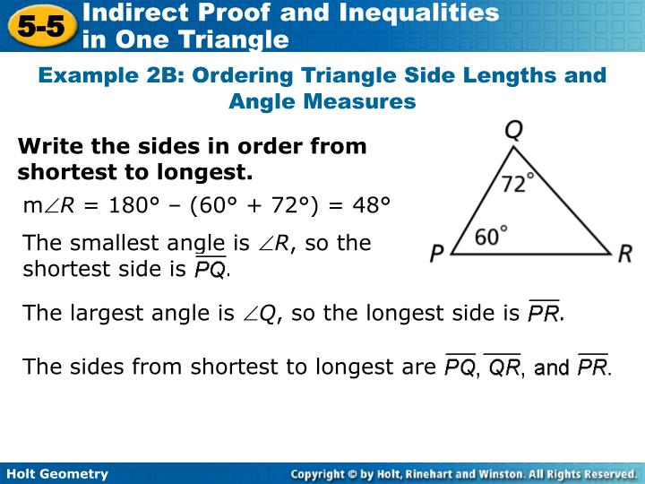 The smallest angle is