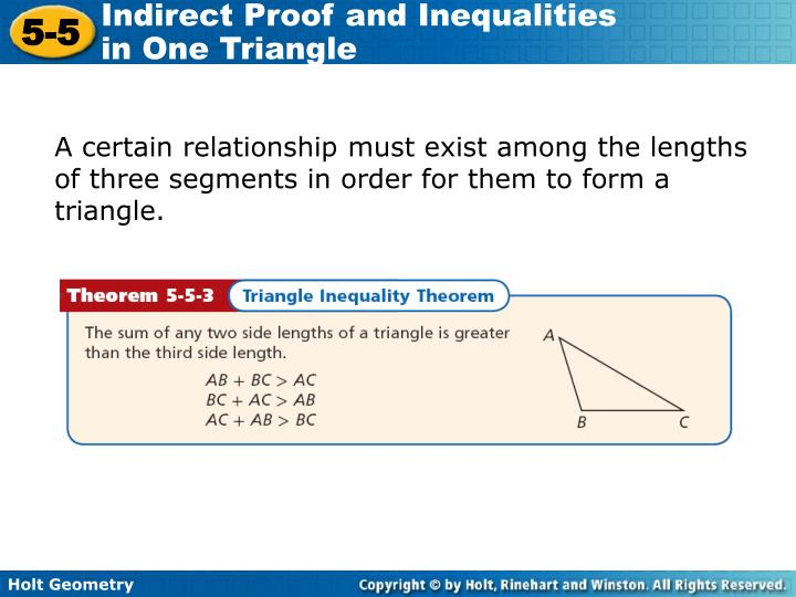 A certain relationship must exist among the lengths of three segments in order for them to form a triangle.