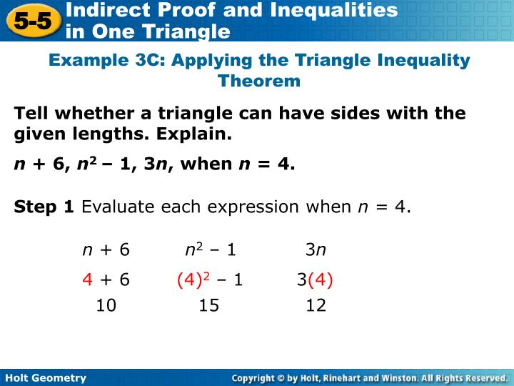 Example 3C: Applying the Triangle Inequality Theorem