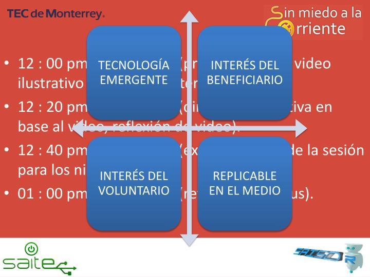 12 : 00 pm a 12 : 20 pm (presentación de video ilustrativo sobre tema interesante).