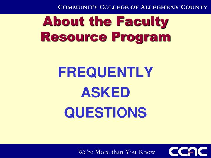 About the Faculty Resource Program