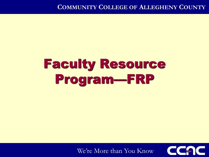 Faculty Resource Program—FRP