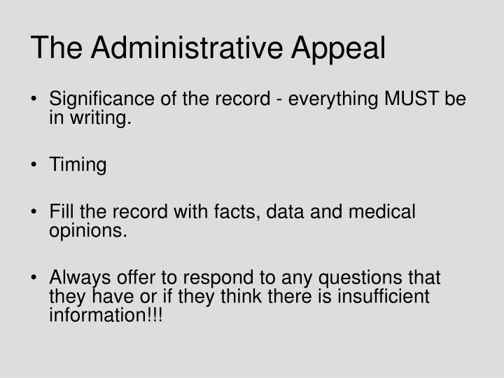 The Administrative Appeal