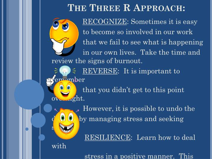 The Three R Approach: