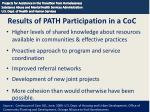results of path participation in a coc