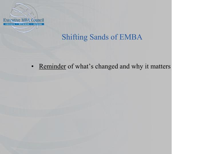 Shifting Sands of EMBA