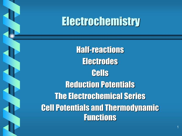 importance of electrochemical series At the end of this activity, students should be able to: - describe the structure of a standard hydrogen electrode - calculate the emf of a cell - determine.
