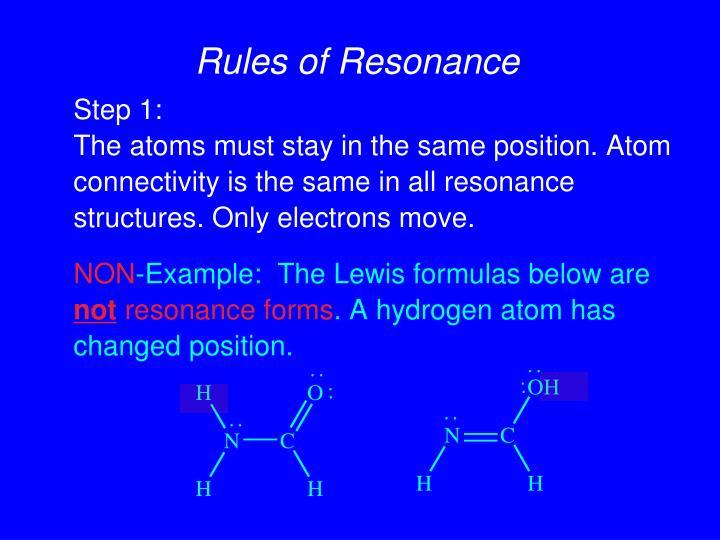 Rules of Resonance