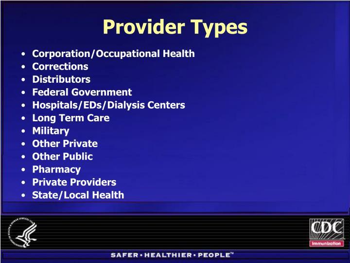 Provider Types