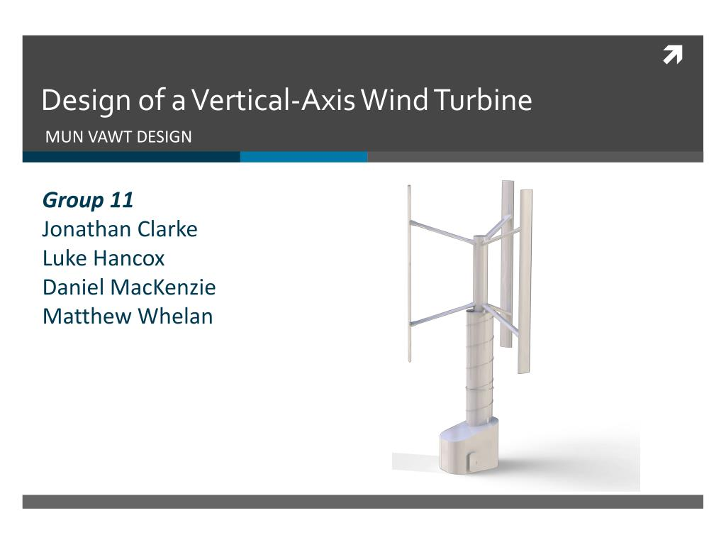 design of a vertical axis wind turbine n.