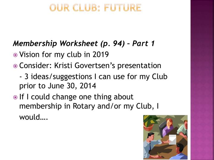 Our Club: Future